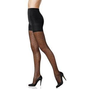 Spanx Sheer Dot Shaping Pantyhose Black Sz C,E&G